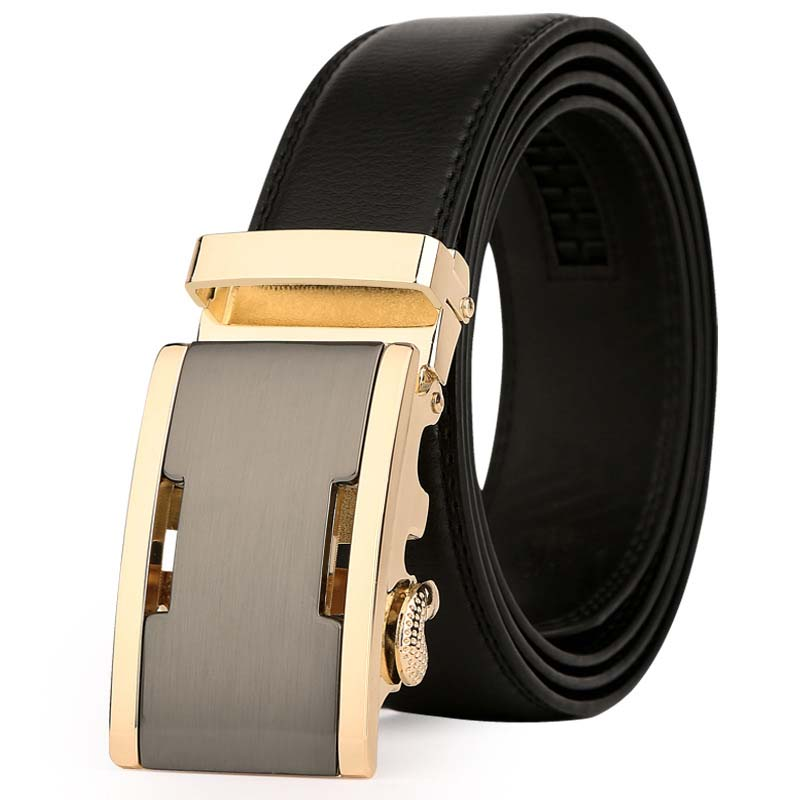 Men's Genuine Leather Belt Golden Automatic Buckle