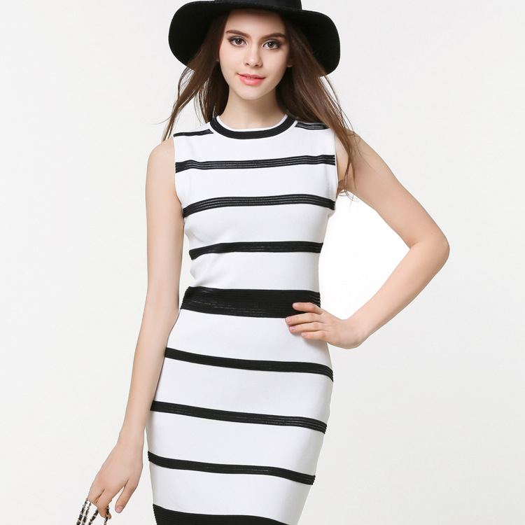 Knitted Dresses Female Classic Black And White Striped Dress Spring Models