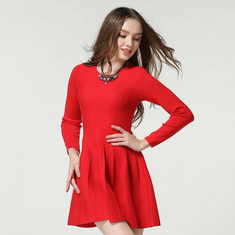 Spring and Summer Round Neck Long-Sleeved Knit Puffy Dress