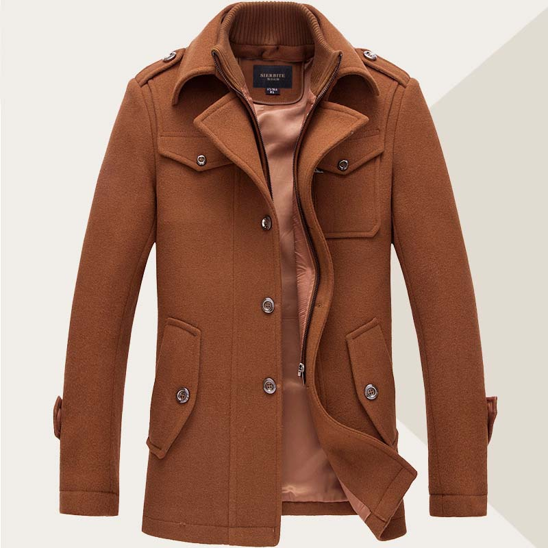 Zipper wool-blend overcoat