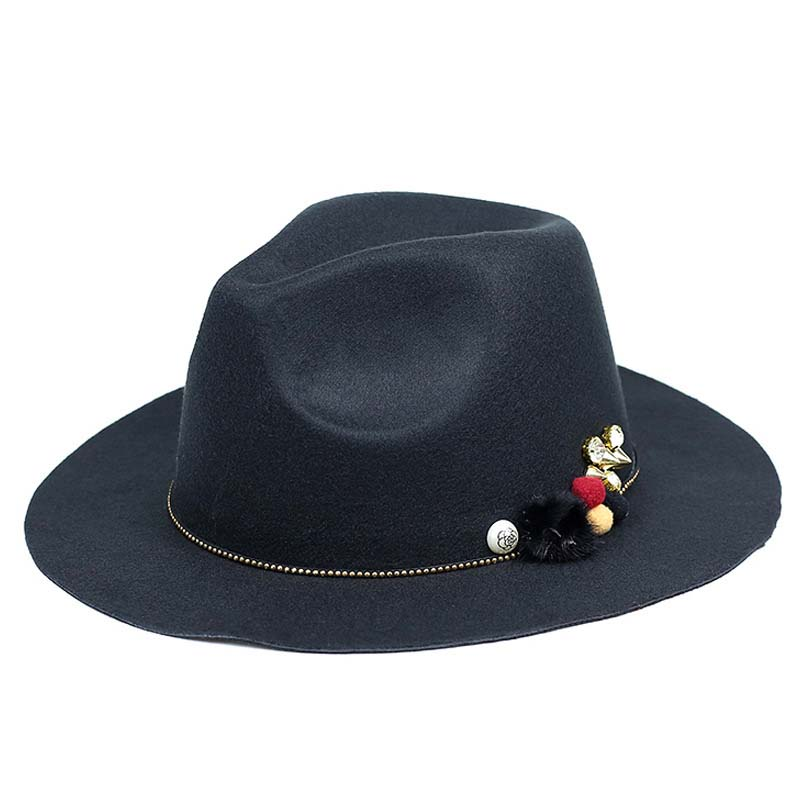 Wide-brim fedora hat