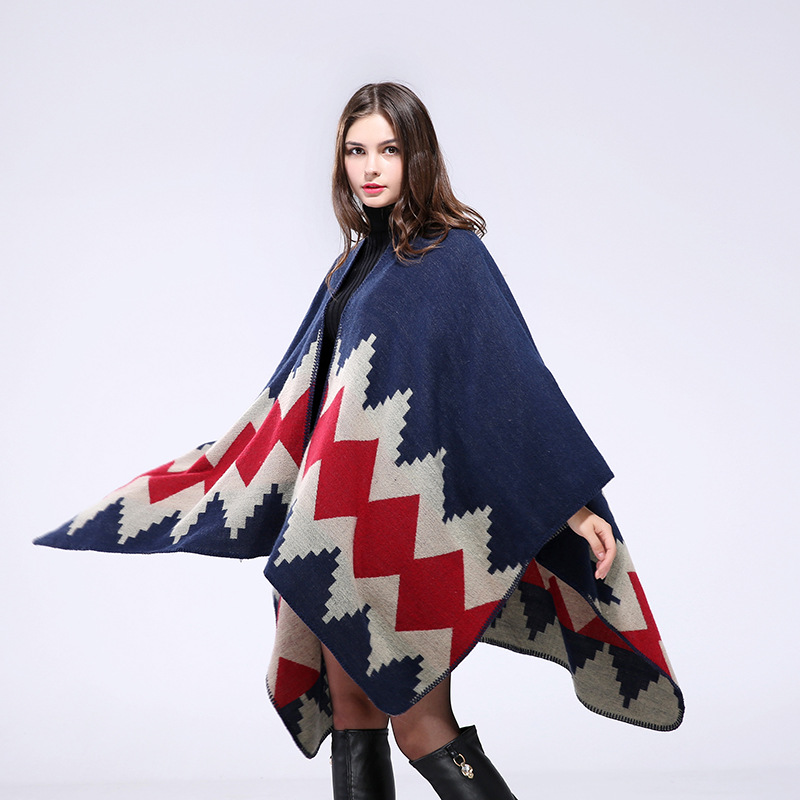 Geo-pattern oblong shawl