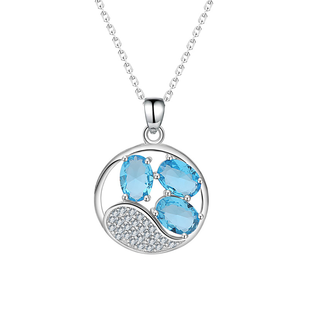 Silver blue crystal pendant S925