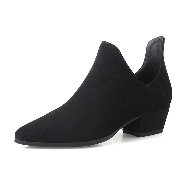 New Spring Pointed Leather Pumps Thick with Female Shoes Simple Cow Suede Pointed Toe Woman Pumps Shoes 4cm Heel DW-50